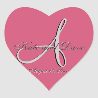3d Monogram Wedding Favor V Heart Sticker