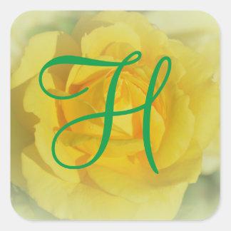 3d Monogram Yellow Rose Square Sticker