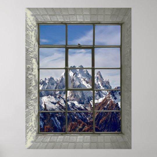 3D Mountains View Fake Window Poster   Zazzle.co.uk