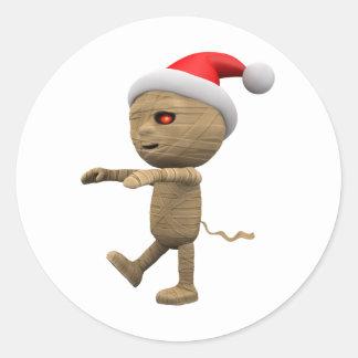 3d-mummy-santa round sticker