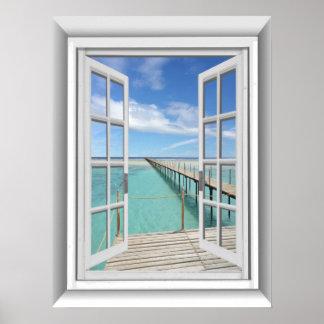 3D Ocean View Fake Window Poster