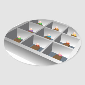 3d Office Cubicles Oval Sticker