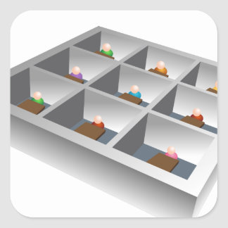 3d Office Cubicles Square Sticker