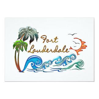 3d Palms, Waves & Sunset FORT LAUDERDALE 13 Cm X 18 Cm Invitation Card