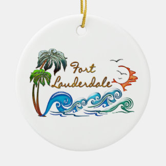 3d Palms, Waves & Sunset FORT LAUDERDALE Christmas Ornament