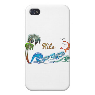 3d Palms, Waves & Sunset HILO iPhone 4 Covers