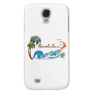 3d Palms Waves Sunset HONOLULU Galaxy S4 Cover