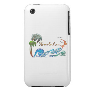 3d Palms, Waves & Sunset HONOLULU Case-Mate iPhone 3 Case
