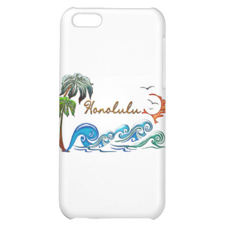 3d Palms Waves Sunset HONOLULU iPhone 5C Cases