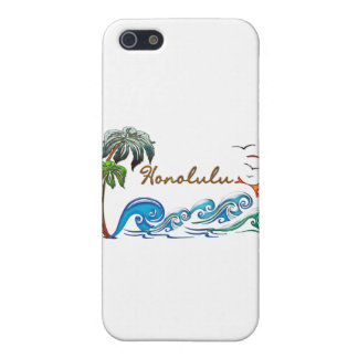 3d Palms, Waves & Sunset HONOLULU iPhone 5 Cover