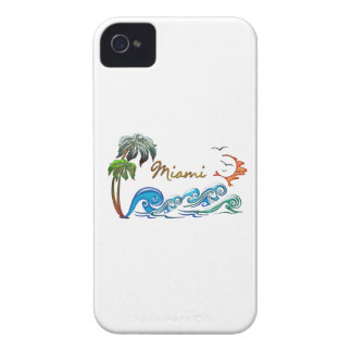 3d Palms, Waves & Sunset MIAMI iPhone 4 Case-Mate Cases