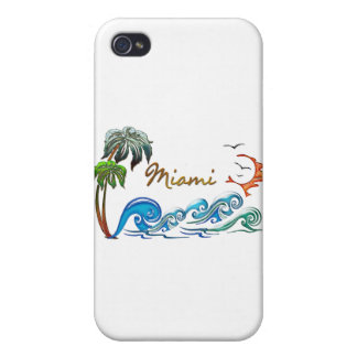 3d Palms, Waves & Sunset MIAMI iPhone 4 Cases