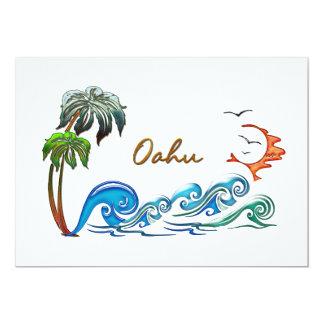 3d Palms, Waves & Sunset OAHU 13 Cm X 18 Cm Invitation Card