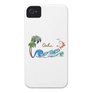3d Palms, Waves & Sunset OAHU iPhone 4 Case