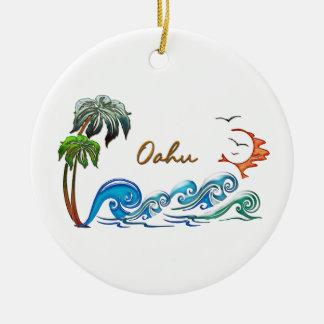 3d Palms, Waves & Sunset OAHU Christmas Ornament