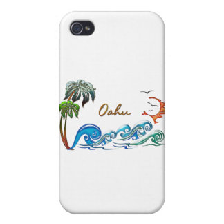 3d Palms, Waves & Sunset OAHU iPhone 4 Cases