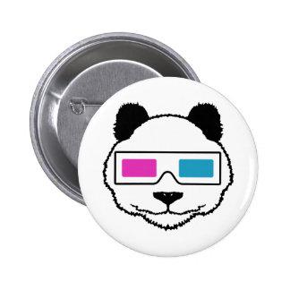 3D Panda 6 Cm Round Badge