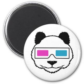 3D Panda 6 Cm Round Magnet