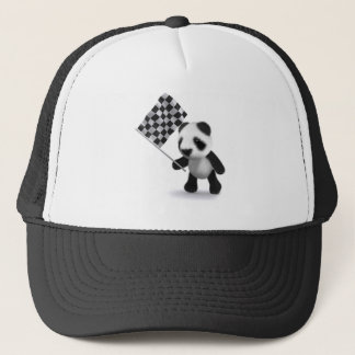 3d Panda Checkered Flag Trucker Hat