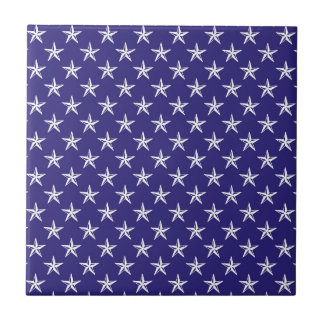 3D Patriot Stars on Blue Small Square Tile