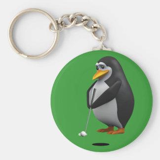 3d Penguin Golfer Any Color U Like Keychains