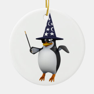 3d penguin wizard christmas ornament