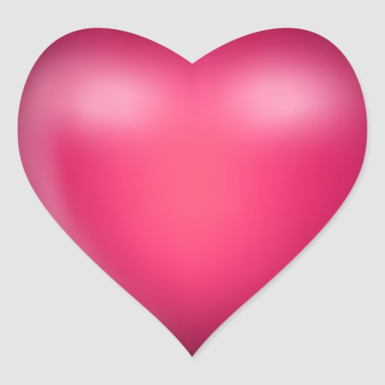 3D Pink Love Heart Heart Sticker | Zazzle.co.uk