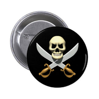 3D Pirate Skull and Crossed Swords 6 Cm Round Badge