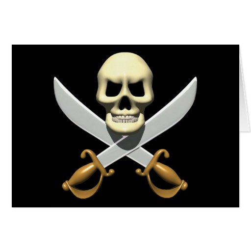 3D Pirate Skull and Crossed Swords Cards