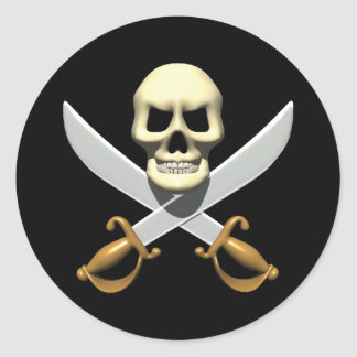3D Pirate Skull and Crossed Swords Classic Round Sticker