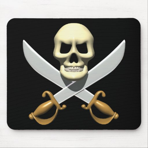3D Pirate Skull and Crossed Swords Mouse Pad