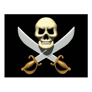 3D Pirate Skull and Crossed Swords Postcard