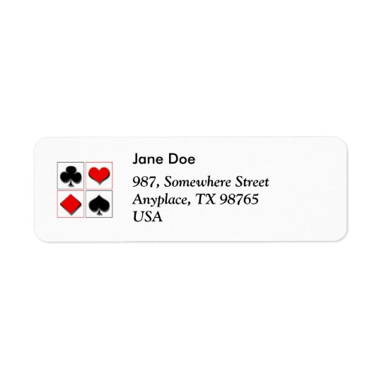 3D playing card suits Return Address Label