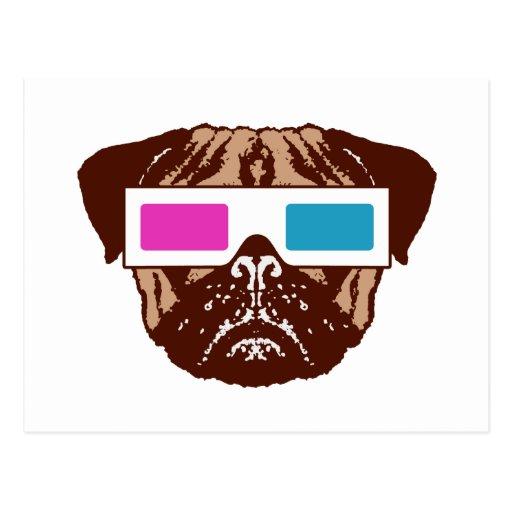 3D Pug Post Card