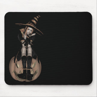3D PUNK PUMPKIN GIRL - EARLY COLOR HALFTONE MOUSE PAD