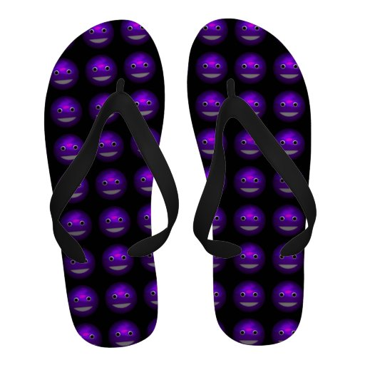 3d Purple Smiley Funny Round Faces Angled Sandals