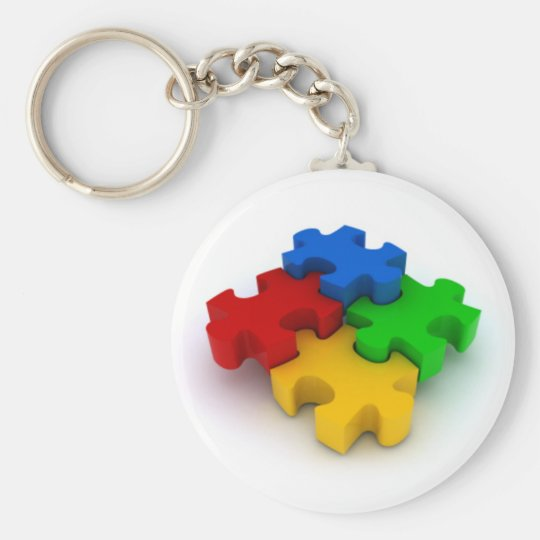3D Puzzle Pieces Autism Awareness Keychain