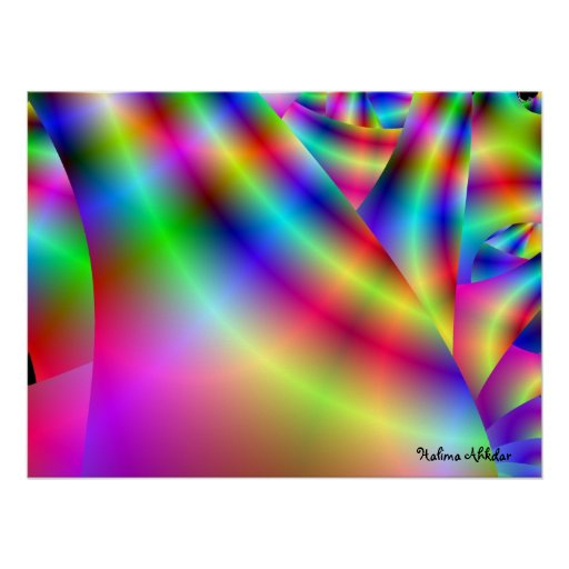 3d rainbow accent wall art by Halima Ahkdar Posters