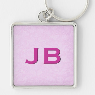 3D Raised Look Monogram Pink Ver 3 Silver-Colored Square Key Ring