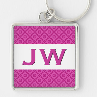 3D Raised Look Monogram Pink Ver 5 Silver-Colored Square Key Ring