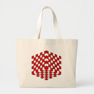 3D Red Cube Optical Illusion Canvas Bag