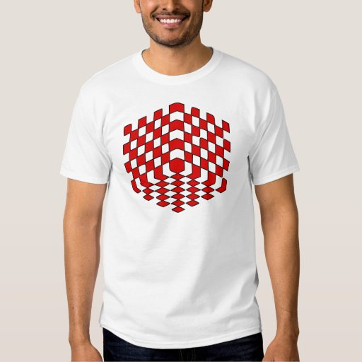 3D Red Cube Optical Illusion Tee Shirts