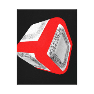 3D Red cube with a Celtic knot design Canvas Print