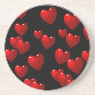 3D Red Hearts Coaster