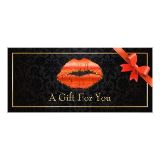 3D Red Lips Beauty Salon Floral Gift Certificate Custom Rack Card