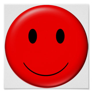 3D Red Smiley Poster