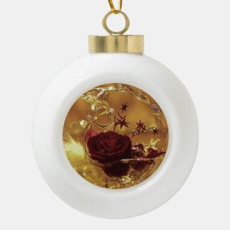 3D Rose Ceramic Ball Christmas Ornament
