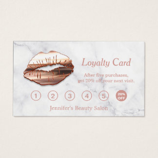 3D Rose Gold Lips Makeup Salon Marble Loyalty Card