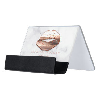 3D Rose Gold Lips White Marble Makeup Artist Desk Business Card Holder