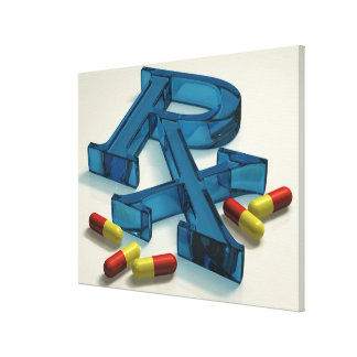 3D RX symbol with capsules Canvas Print